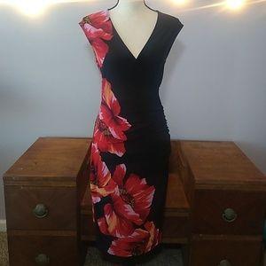 Caché l Floral & Black Midi Dress